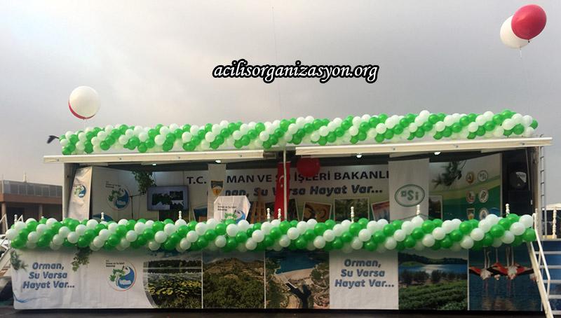 zincir balon süsleme yeşil beyaz